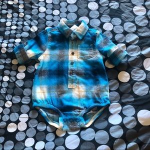 Oshkosh flannel shirt onesie